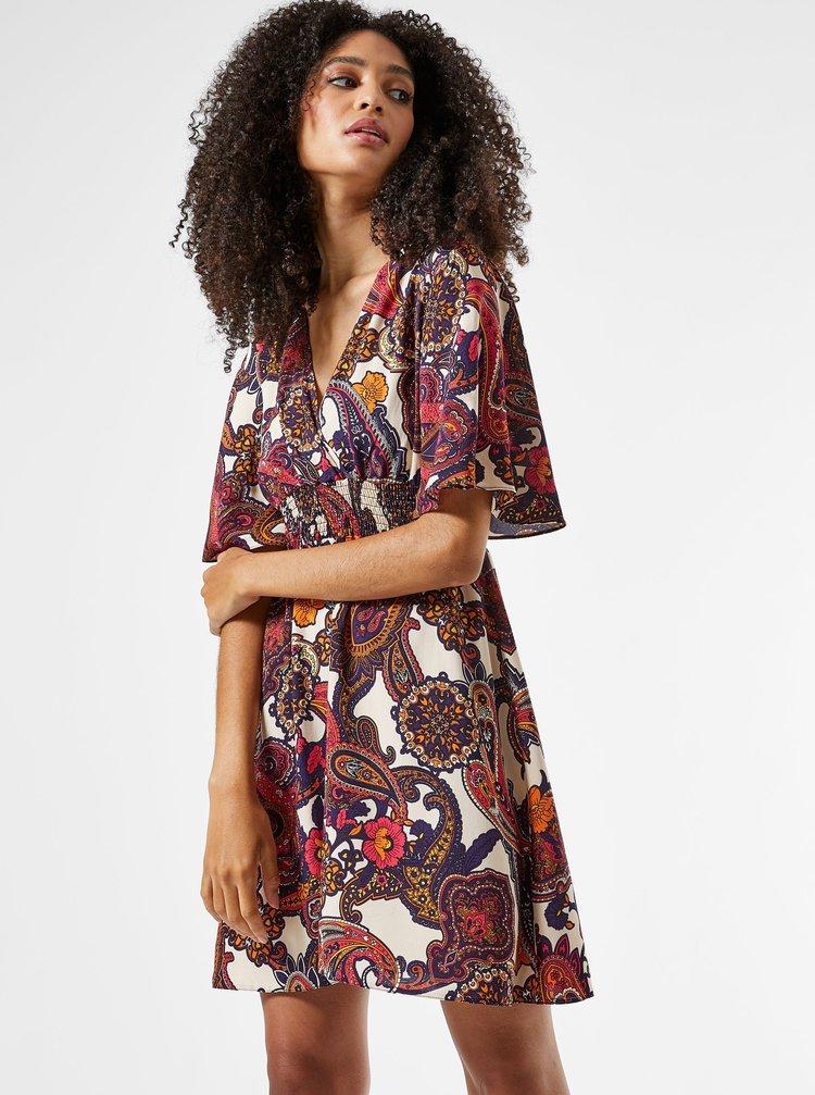 Krémovo-vínové vzorované šaty Dorothy Perkins