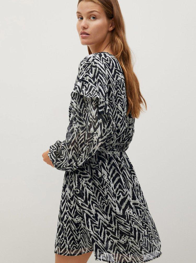 Černo-šedé vzorované šaty Mango
