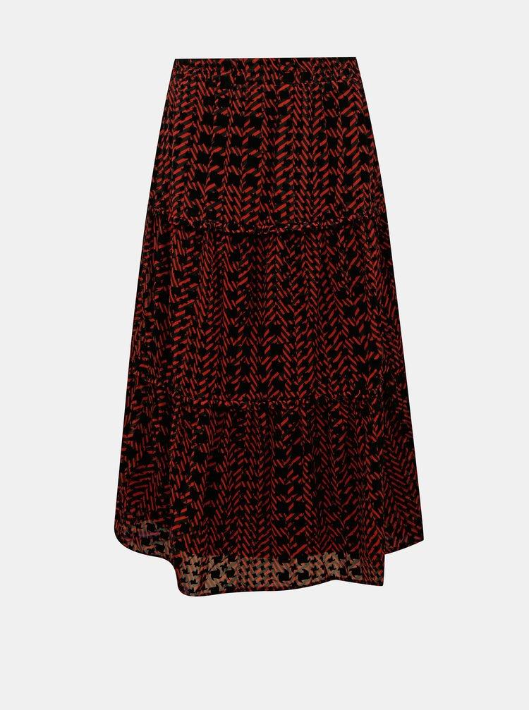 Červeno-černá vzorovaná midi sukně Noisy May Jane