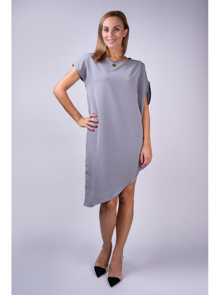 Simpo sivé asymetrické šaty Storm bez opasku
