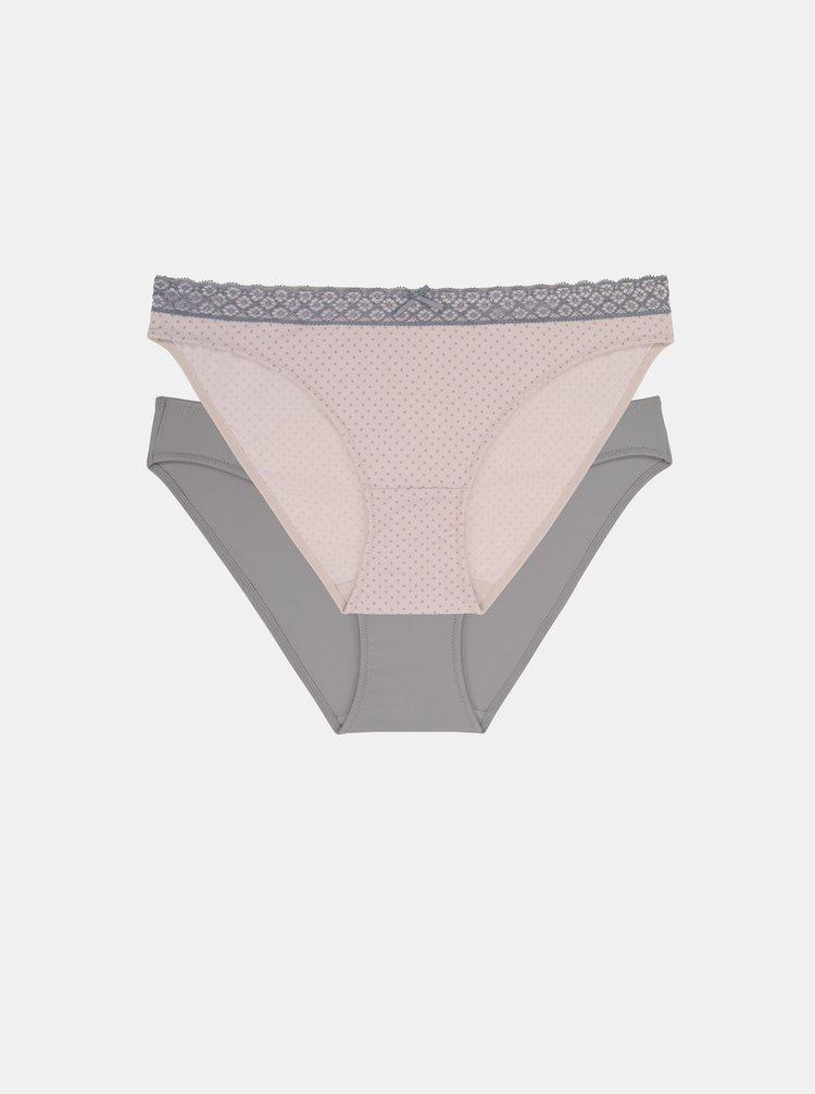 Sada dvou kalhotek v růžové a šedé barvě DORINA