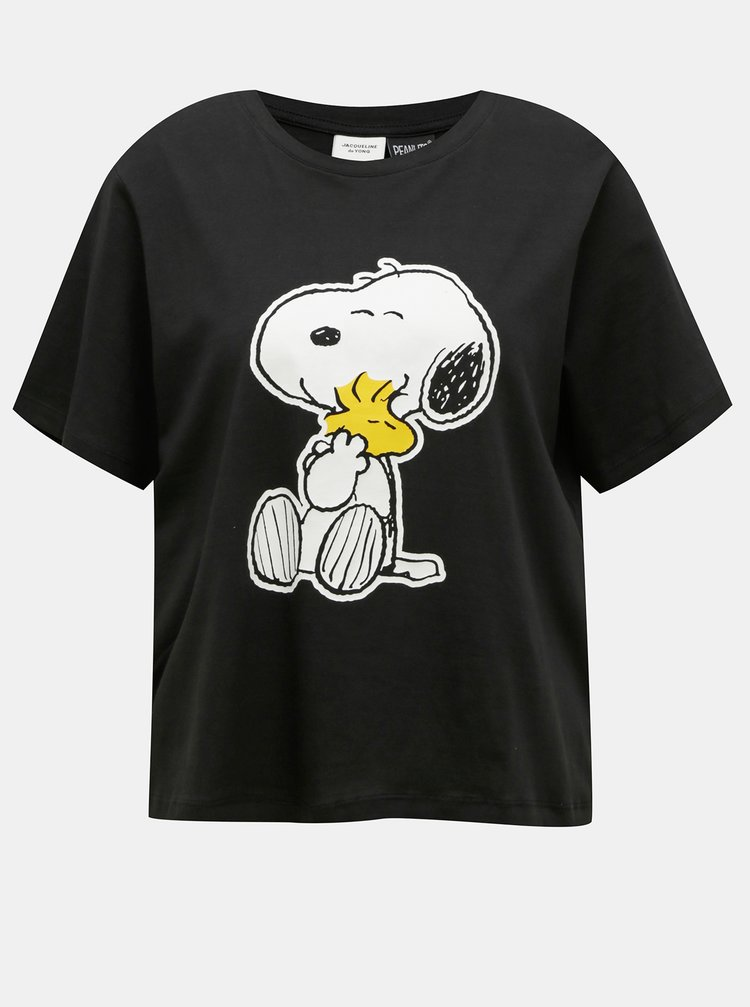 Černé volné tričko s potiskem Jacqueline de Yong Peanut