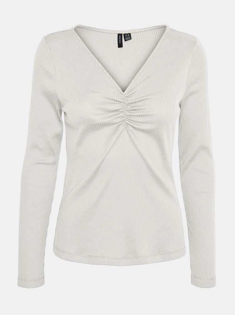 Biele rebrované tričko VERO MODA Polly