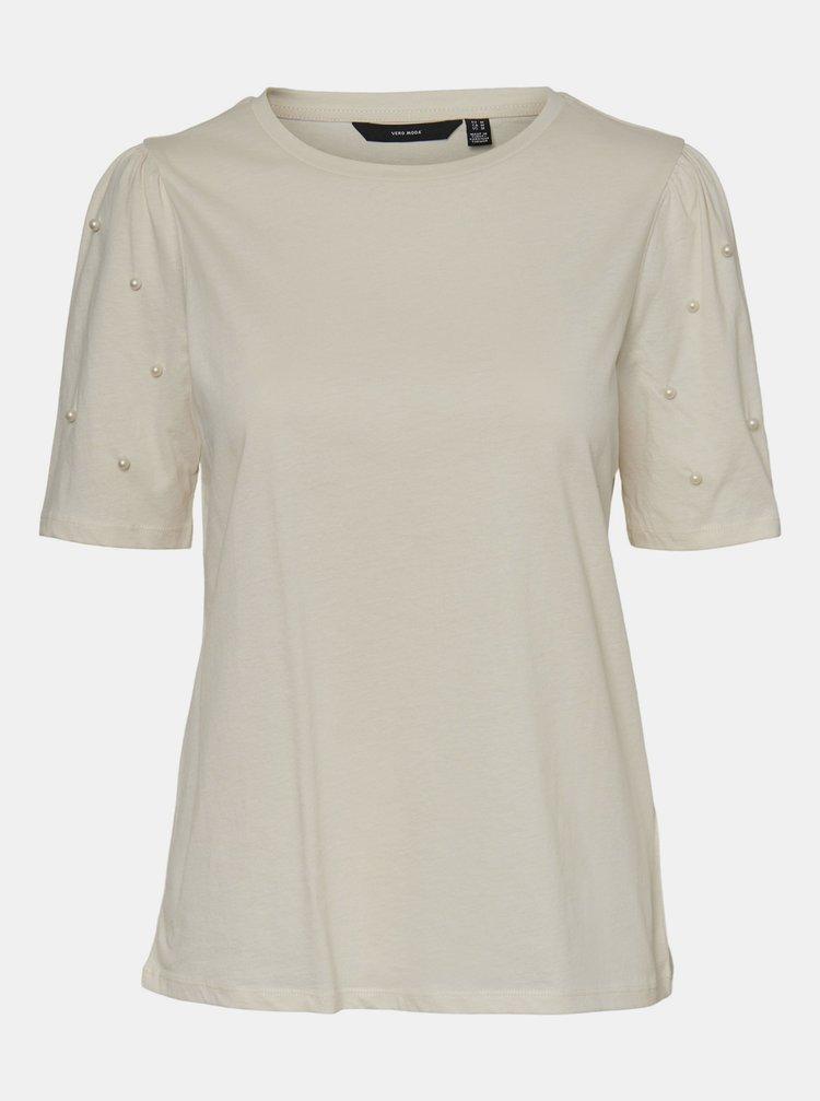 Krémové tričko s ozdobnými detailmi VERO MODA Celia
