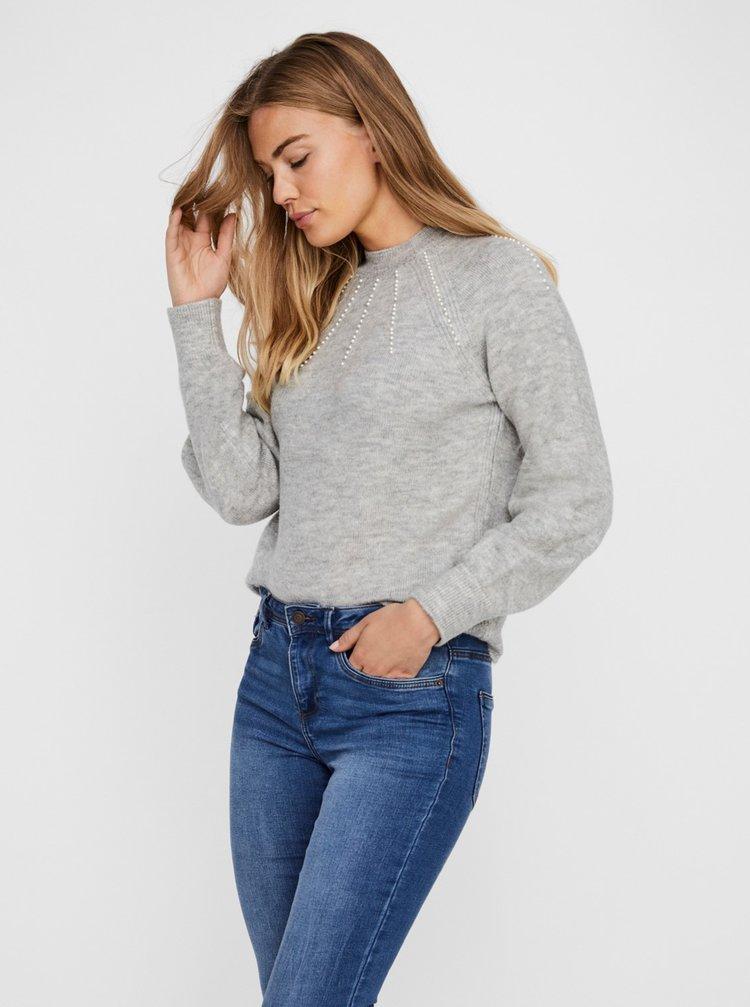 Svetlošedý sveter VERO MODA Peppy