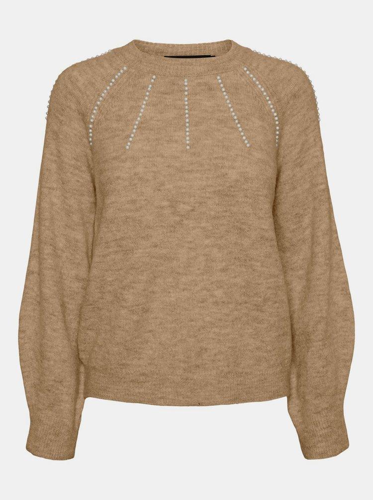 Svetlohnedý sveter VERO MODA Peppy