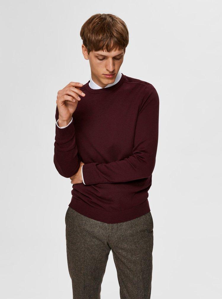 Vínový basic sveter Selected Homme Berg