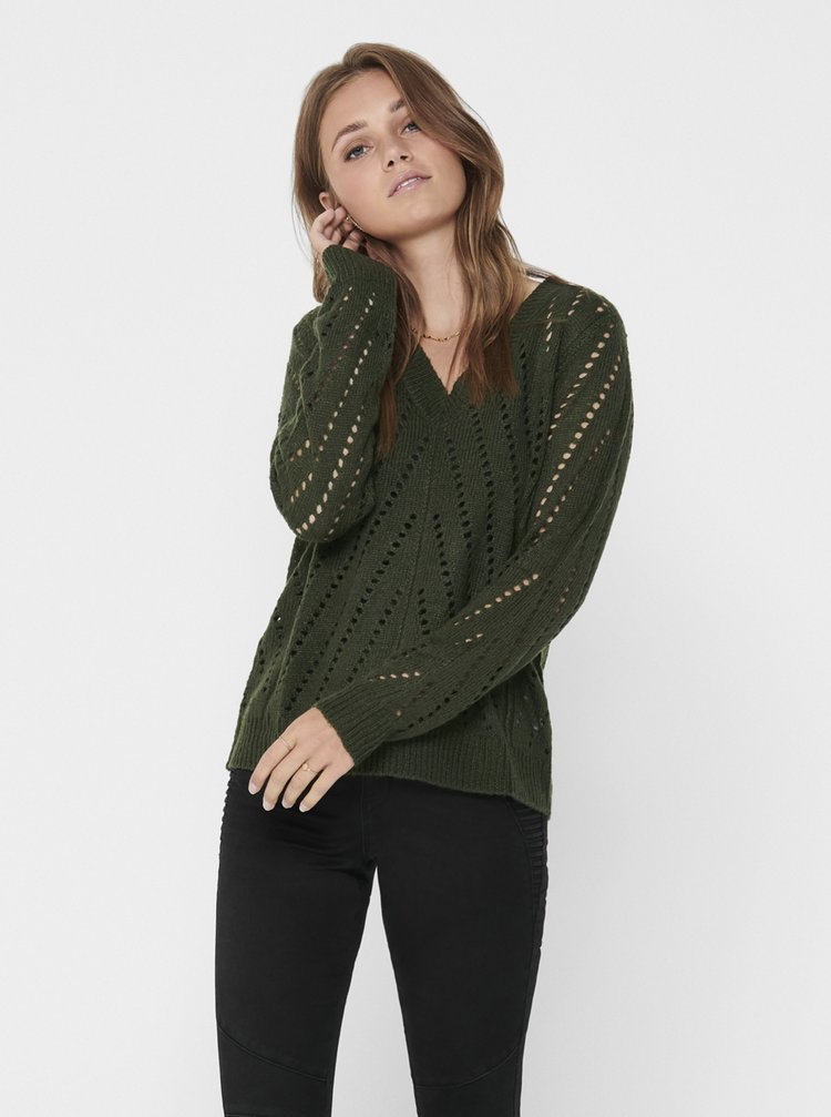 Tmavě zelený svetr Jacqueline de Yong Kristen