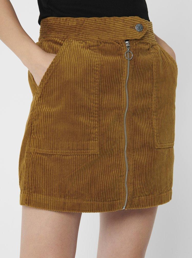 Hnědá manšetrová sukně Jacqueline de Yong Kira