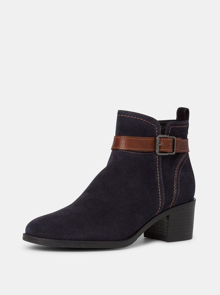 Tmavě modré dámské semišové kotníkové boty Tamaris