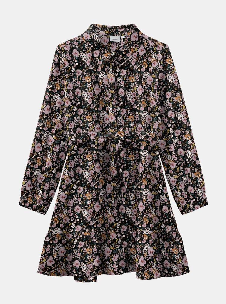 Růžovo-černé květované holčičí šaty name it Vinaya