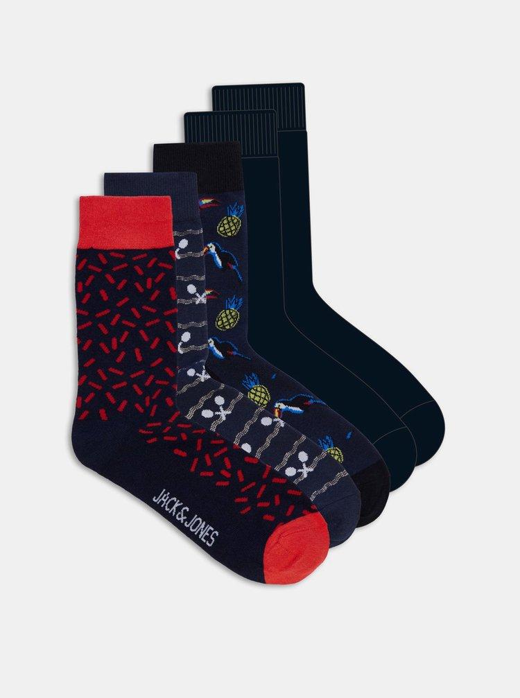 Sada pěti párů černých ponožek s motivy Jack & Jones  Sport