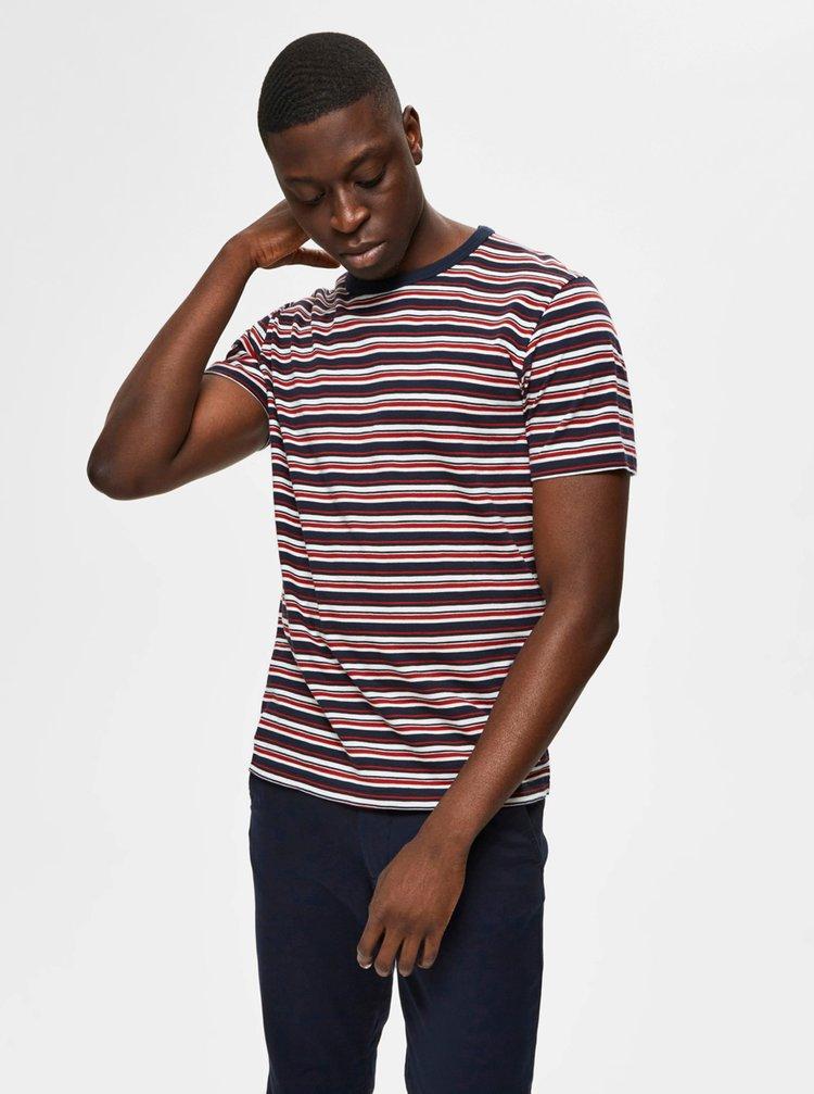 Červeno-modré pruhované tričko Selected Homme Carl