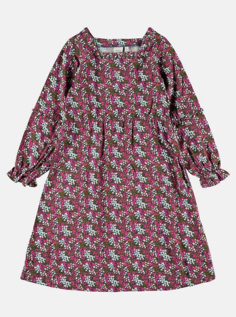 Zeleno-růžové holčičí květované šaty name it Nolah