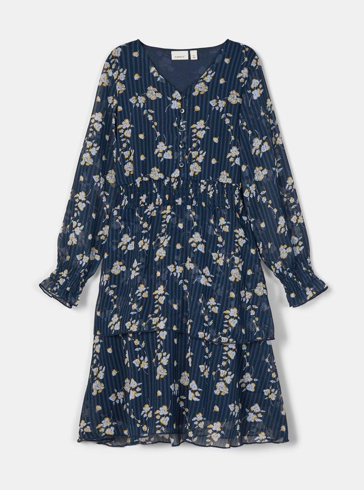 Modré holčičí květované šaty name it Nigara