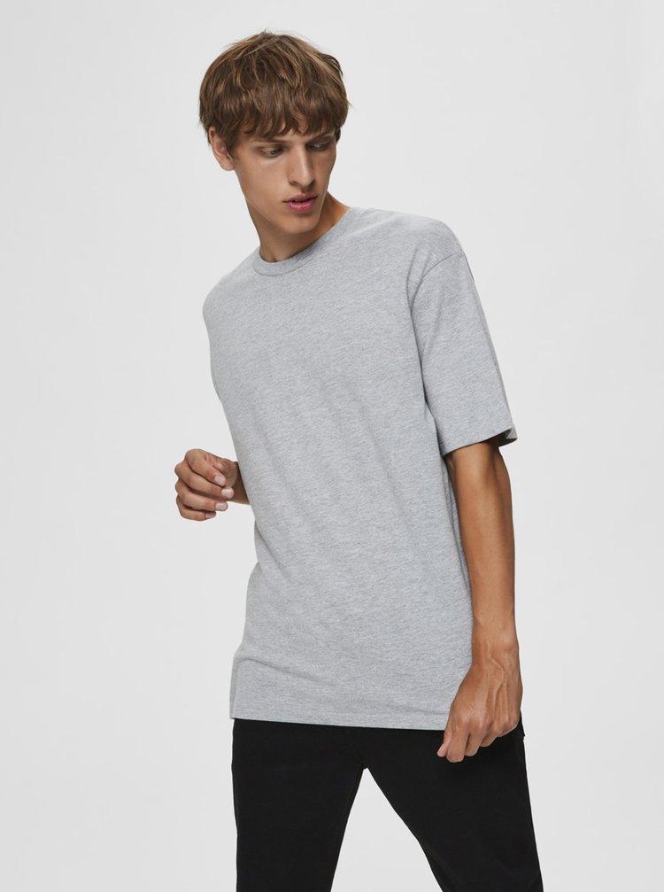 Šedé volné basic  tričko Selected Homme Malcolm