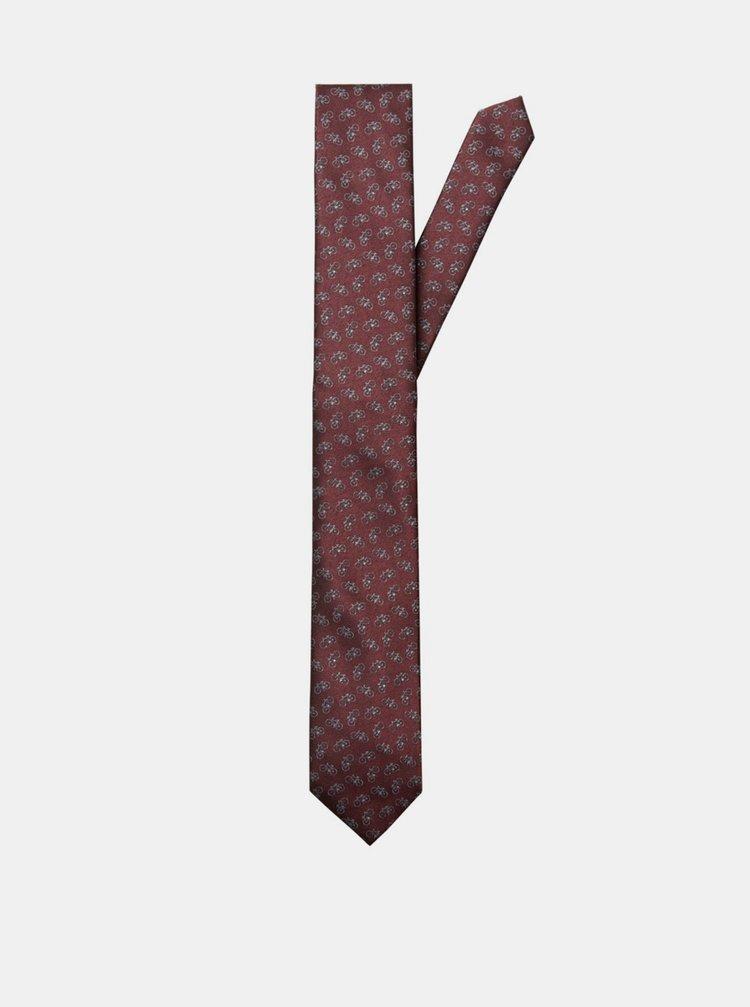 Vínová vzorovaná kravata Selected Homme Morten