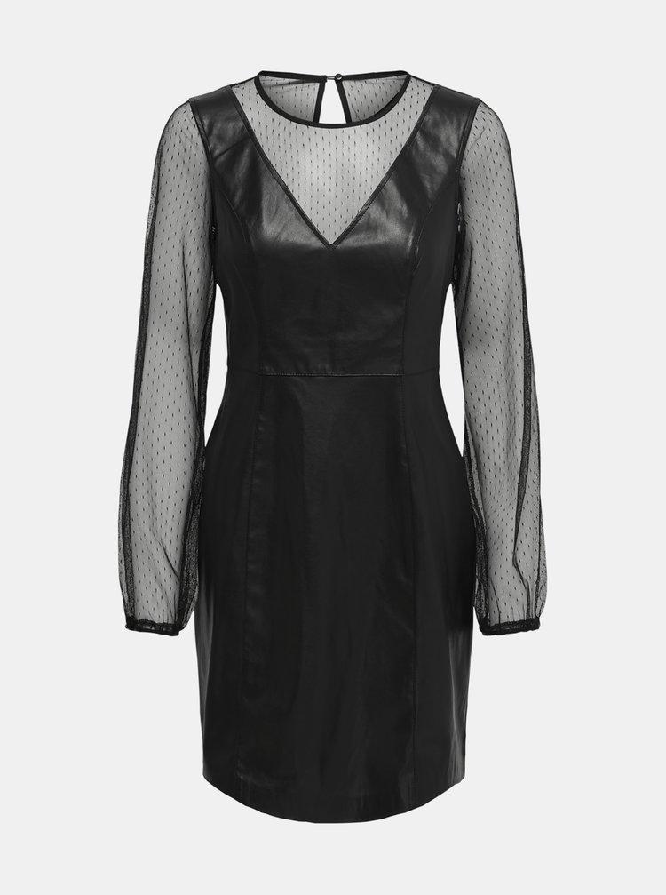 Čierne šaty s povrchovou úpravou ONLY Britt