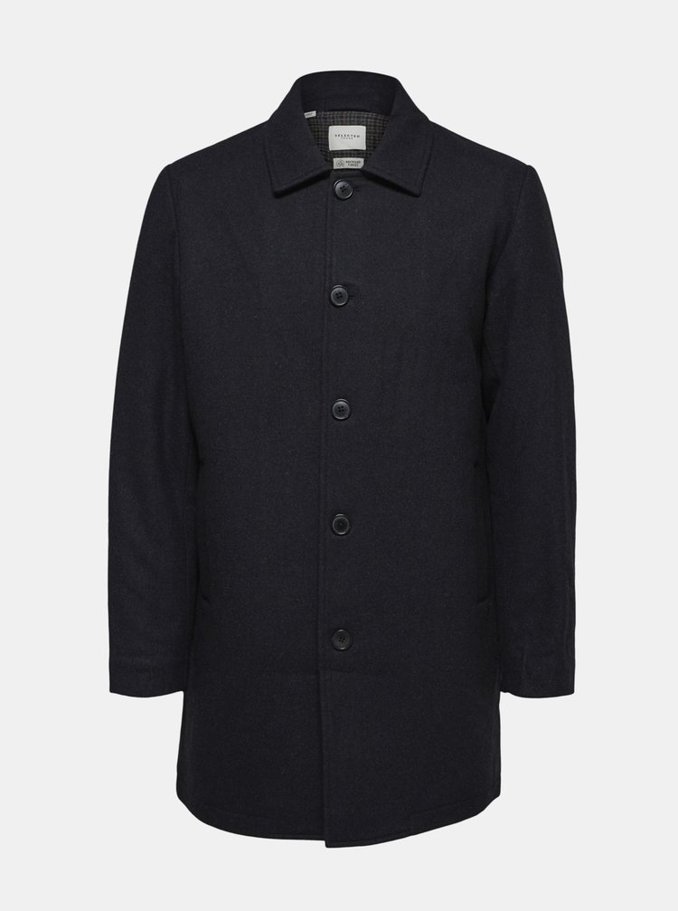 Tmavomodrý kabát s prímesou vlny Selected Homme James