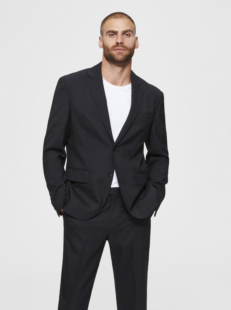 Černé sako s příměsí vlny Selected Homme Stock