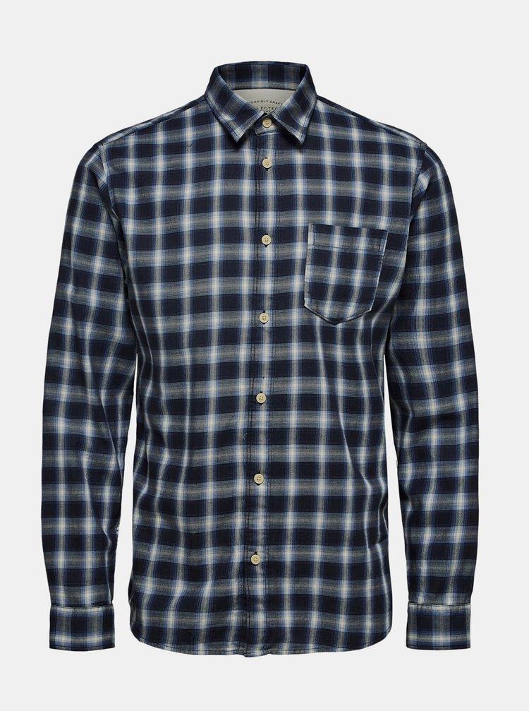 Tmavě modrá kostkovaná košile Selected Homme Matthew