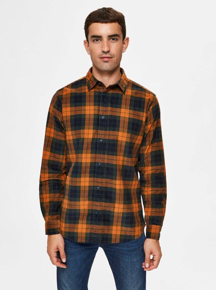 Oranžová kockovaná košeľa Selected Homme Adrian