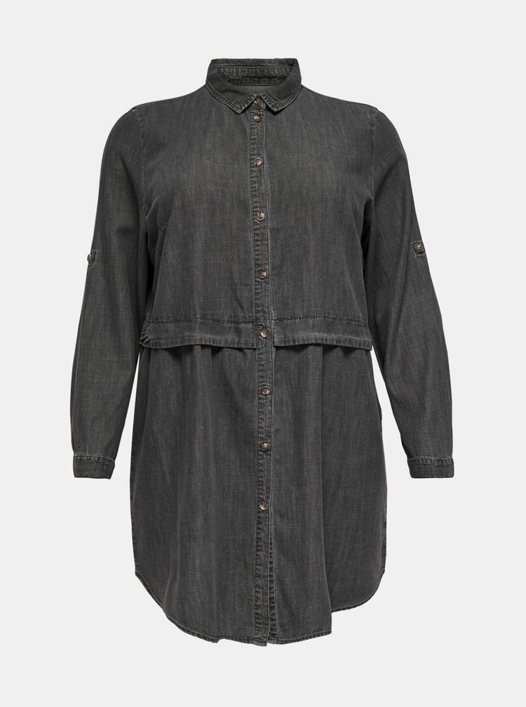 Tmavošedé košeľové šaty ONLY CARMAKOMA Claire