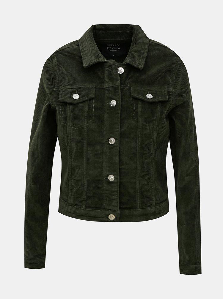 Tmavě zelená manšestrová bunda ONLY Touch