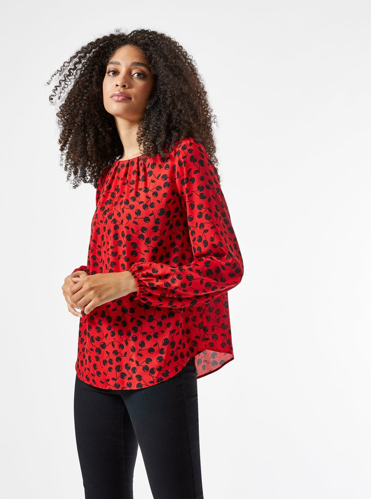 Červená vzorovaná voľná blúzka Billie & Blossom