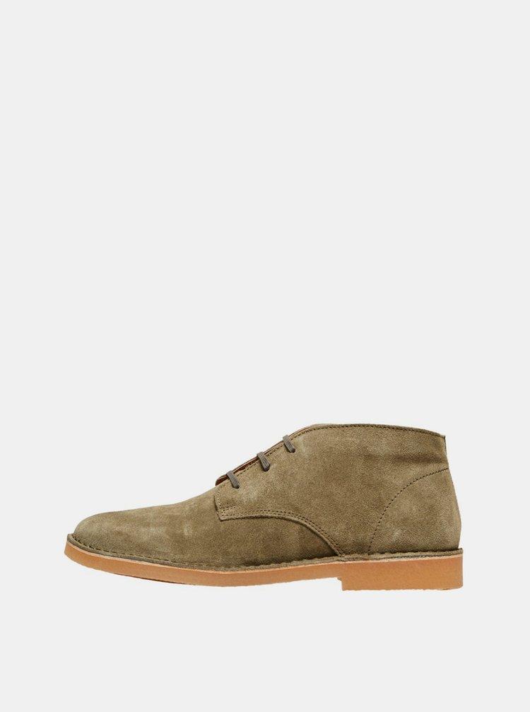 Khaki semišové kotníkové  boty Selected Homme Royce