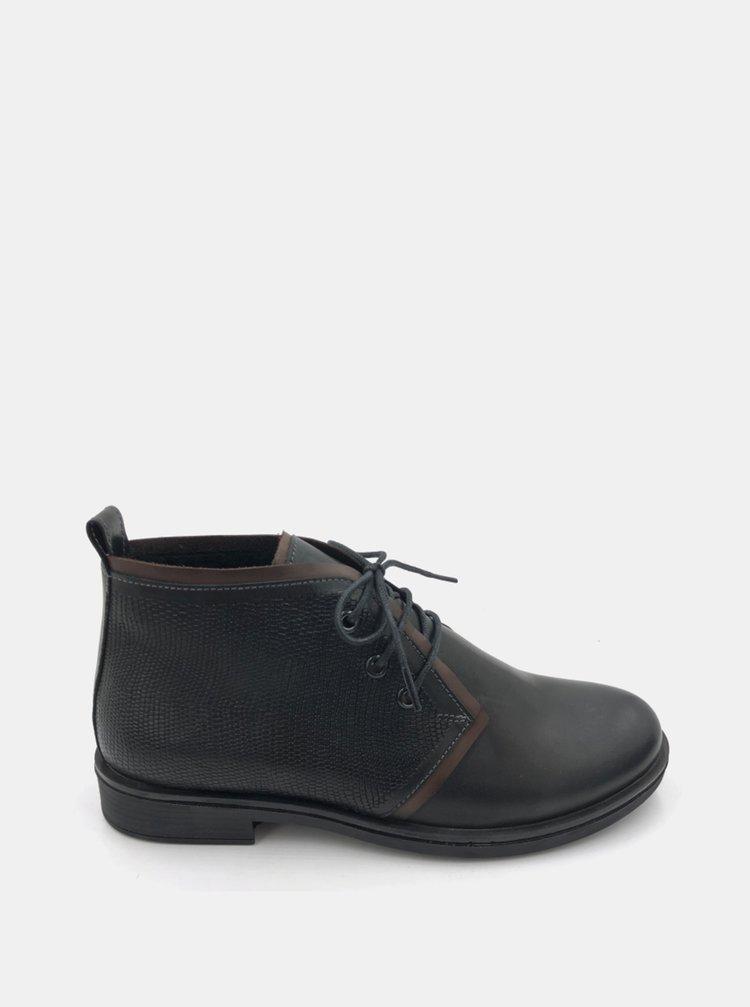 Černé dámské kožené kotníkové boty WILD