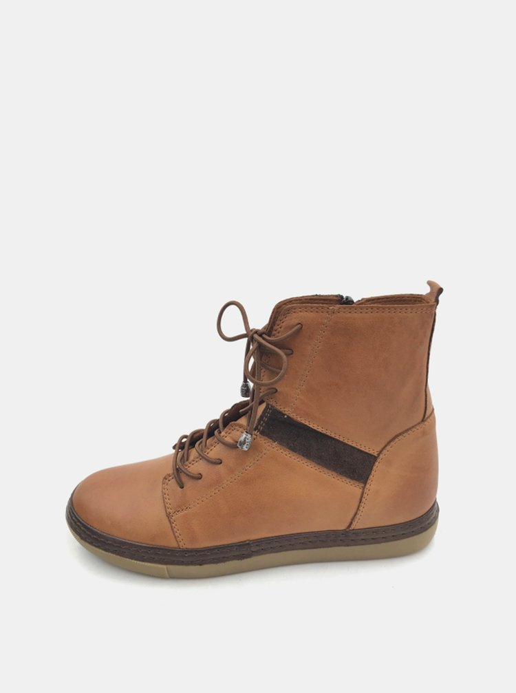 Hnědé dámské kožené zimní boty WILD