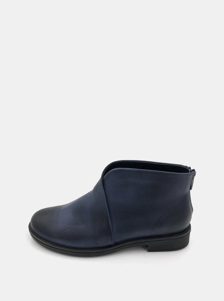Tmavě modré dámské kožené kotníkové boty WILD
