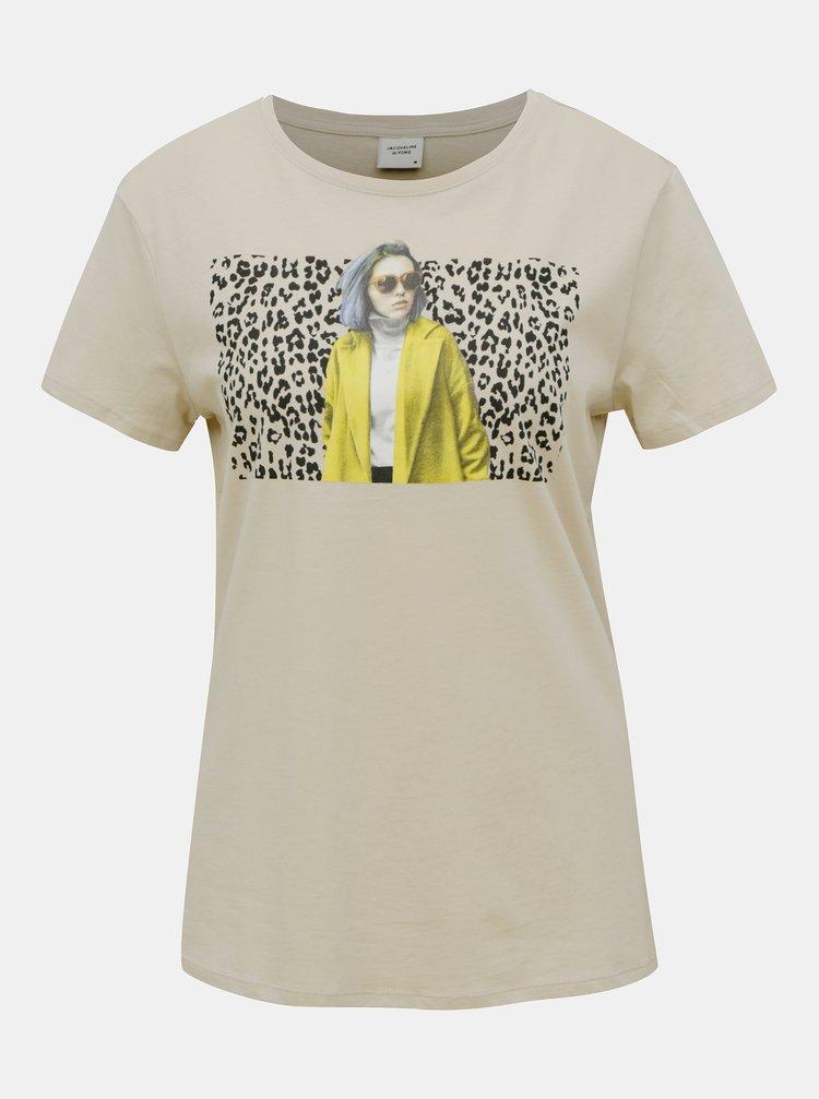 Béžové tričko Jacqueline de Yong Brenda