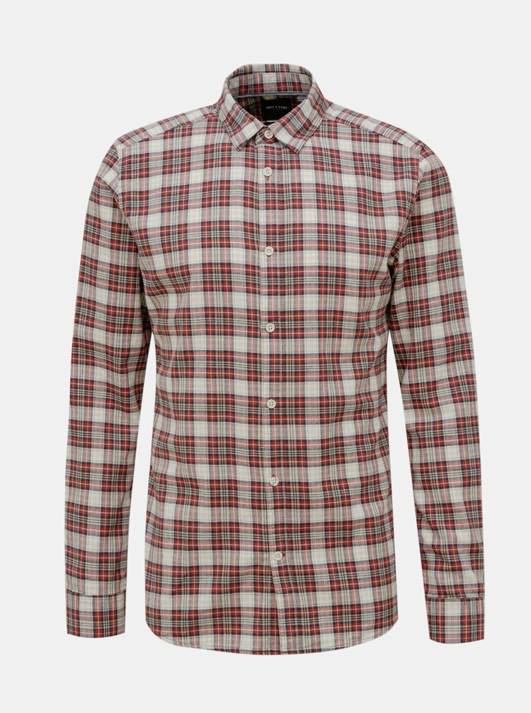 Hnědá kostkovaná košile ONLY & SONS New Omar