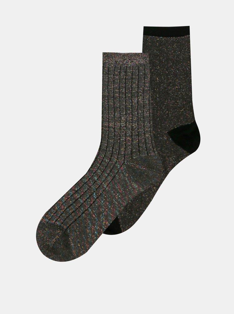 Sada dvou párů tmavě šedých vzorovaných ponožek ONLY Coffee