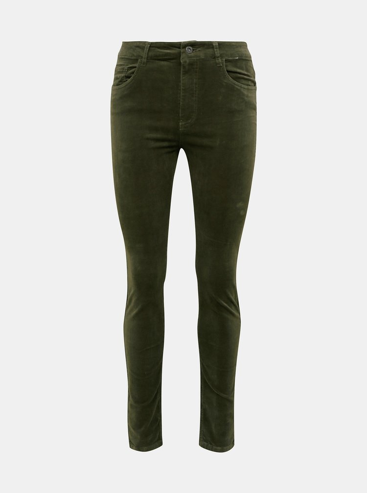 Kaki menčestrové skinny fit nohavice Jacqueline de Yong Era