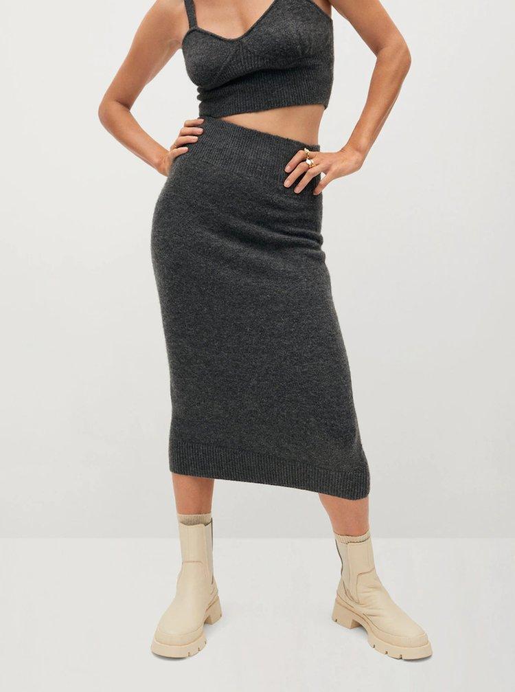 Šedá pouzdrová midi sukně Mango Taldora