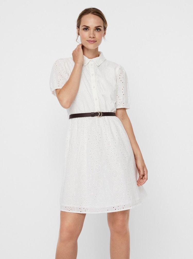 Bílé košilové šaty s madeirou VERO MODA Ellie