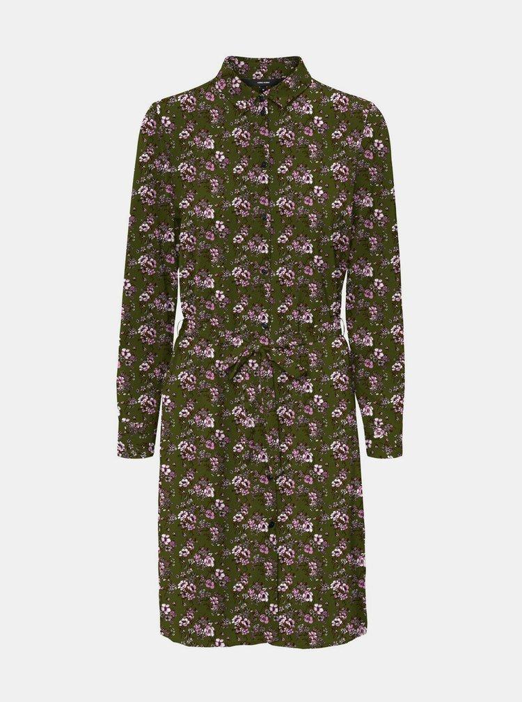 Khaki květované košilové šaty VERO MODA Saga