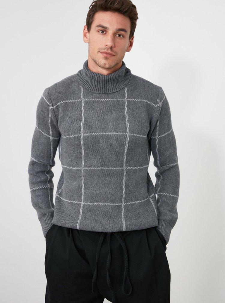 Šedý pánský kostkovaný svetr Trendyol