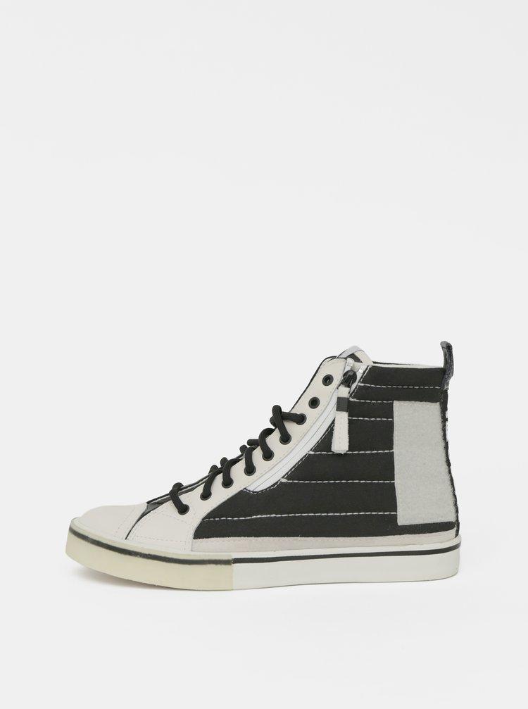 Čierno-biele pánske členkové tenisky s koženými detailmi Diesel