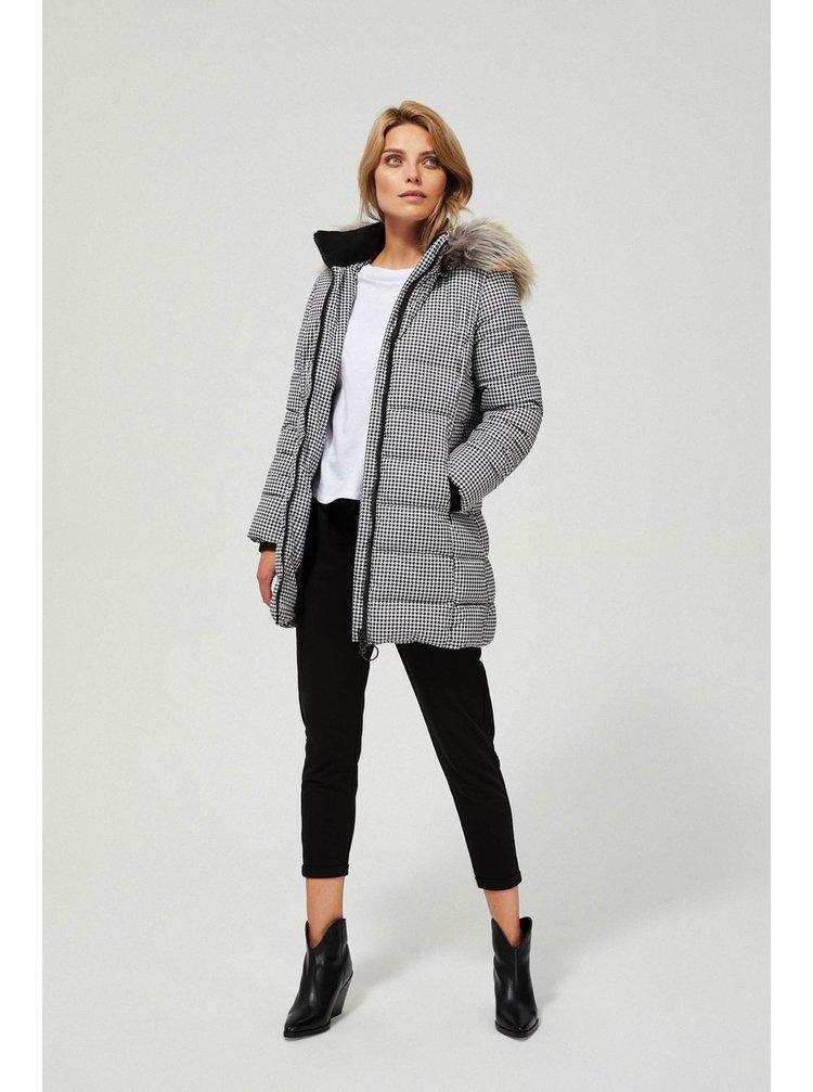Moodo bílo-černý zimní kabát s kapucí