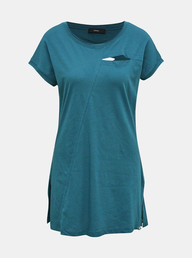 Modré dámské dlouhé tričko s průstřihy Diesel