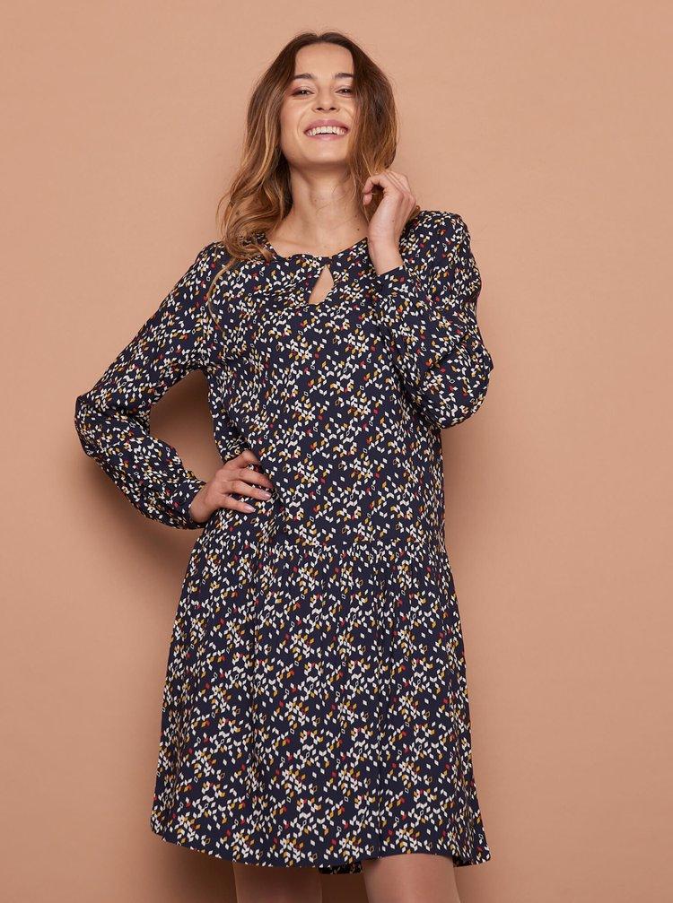 Tmavomodré vzorované šaty Tranquillo