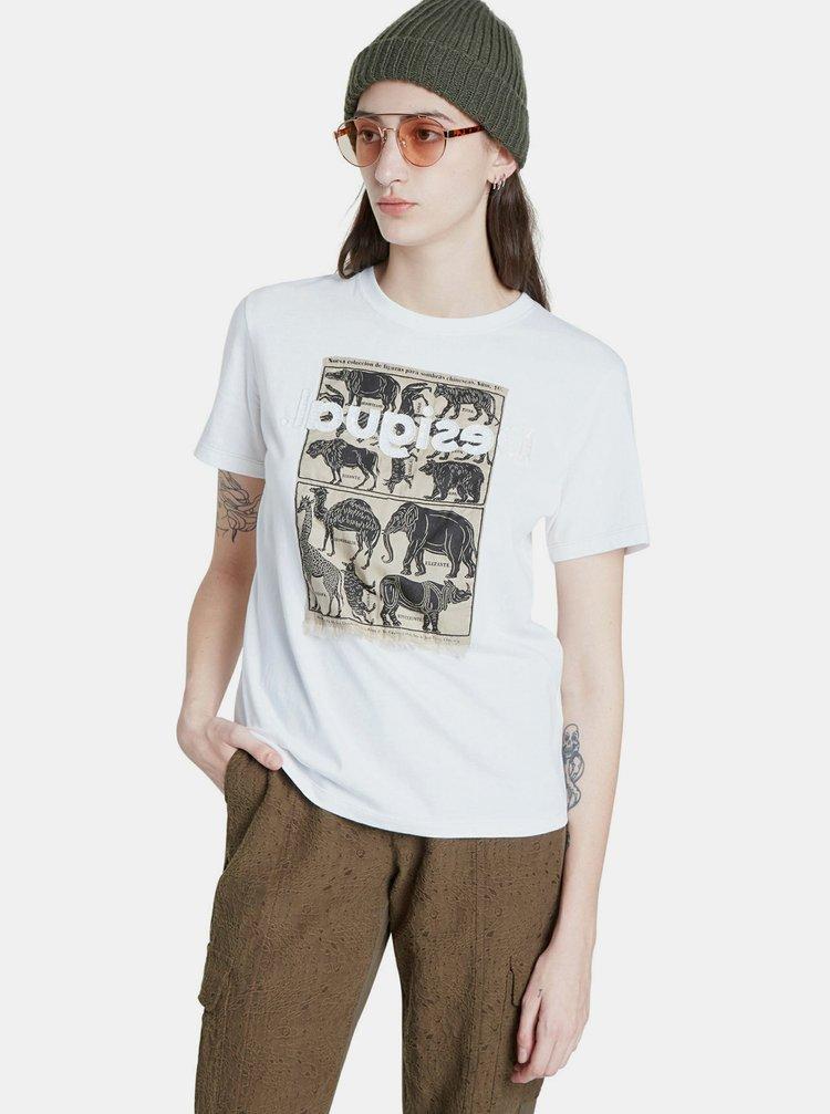 Bílé tričko s potiskem Desigual