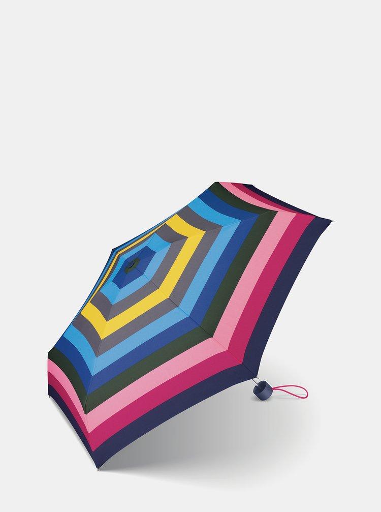 Růžovo-modrý dámský skládací deštník Esprit