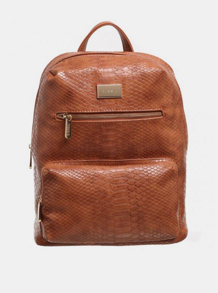 Hnedý batoh s krokodýlím vzorom Bessie London
