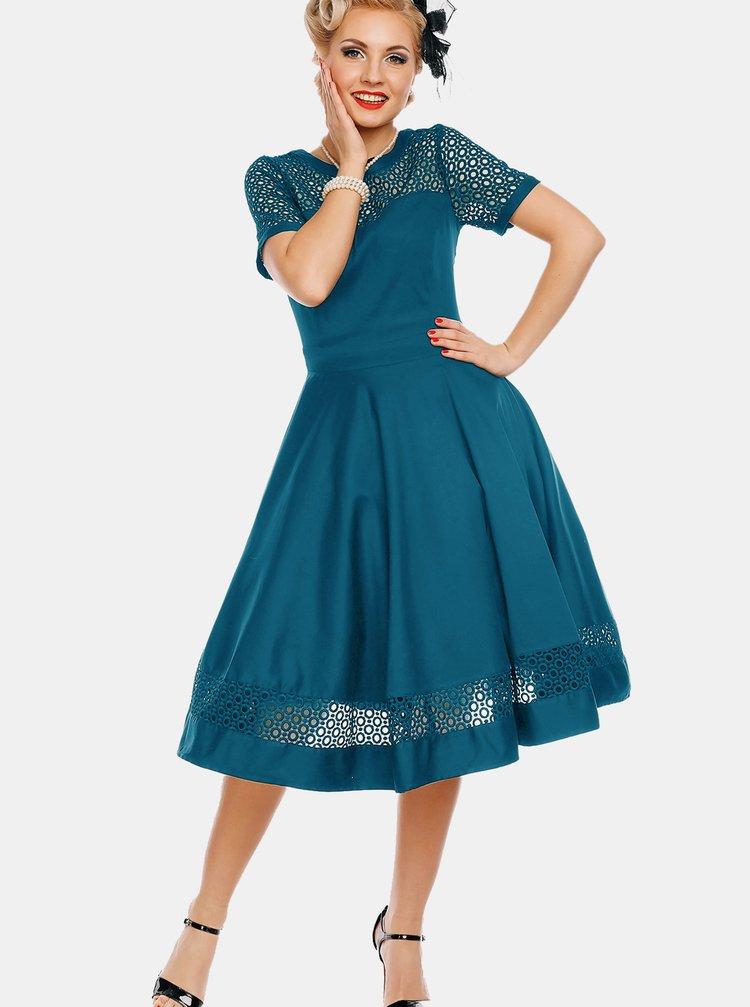 Modré šaty s ozdobným sedlom Dolly & Dotty