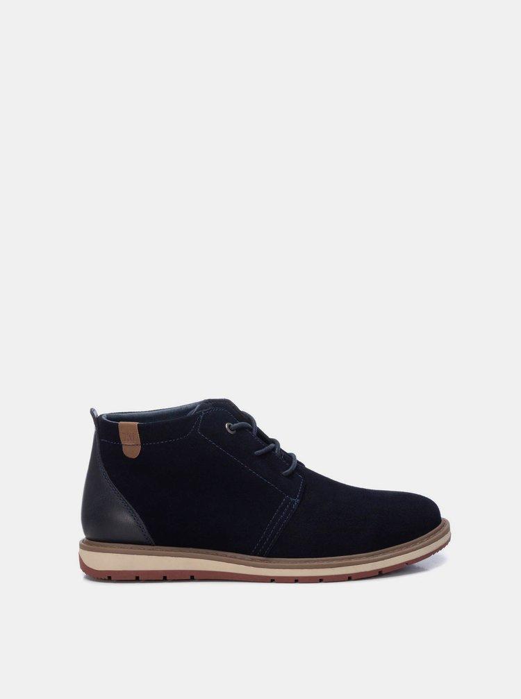 Tmavě modré pánské semišové kotníkové boty Xti